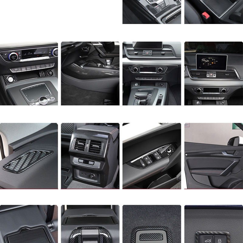 Lsrtw2017 Carbon Fiber Abs Car Central Control Gear Panel Air Vent Trims Cup for Audi Q5 2018 2019 2020 Accessories
