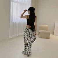 mens pants summer new plaid contrast casual elastic waist lovers and womens straight tube listing fashion trend couples