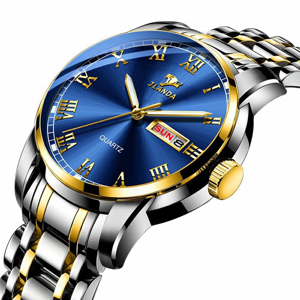 Men Fashion Watches Men Quartz Watch for Business Waterproof Wrist Watch Luminous Stainless Steel Wa