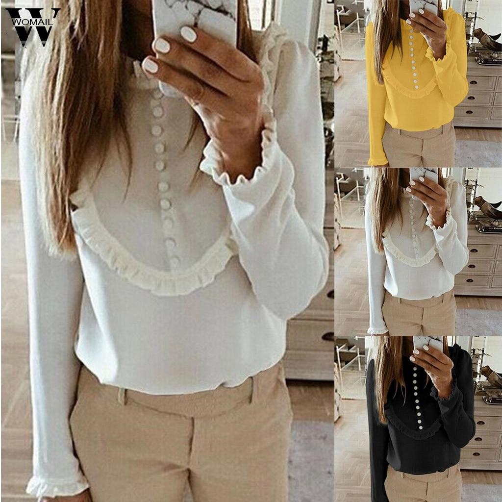 Womail Blouse Women Fashion Long Sleeve Elegant Shirt Korean Button Shirt Casual WorkWear Office Women Shirt Loose Pullovers 828