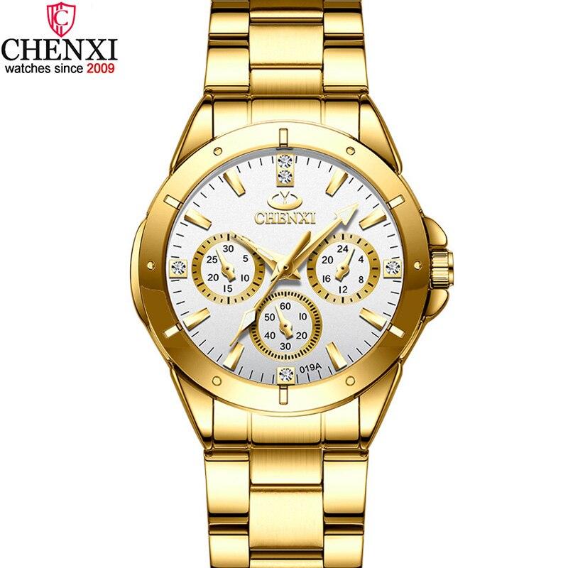 Reloj de marca de lujo CHENXI dorado para mujer, reloj de negocios de acero inoxidable, 30 metros, resistente al agua, reloj de vestir para mujer, reloj informal dorado para mujer