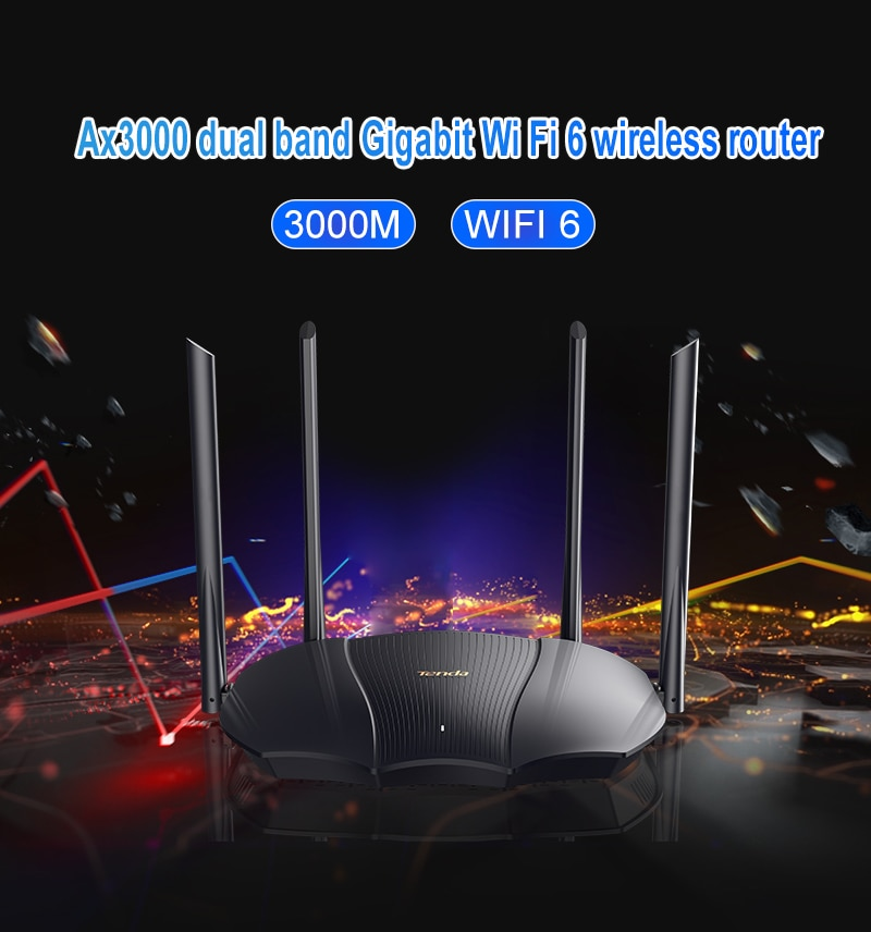 Tenda AX3000 Wireless WiFi Router Wifi 6 Dual-Band 2.4G 5G 2976Mbs Gigabit Rate WPA3 Security,External Signal Amplifier Repeater enlarge