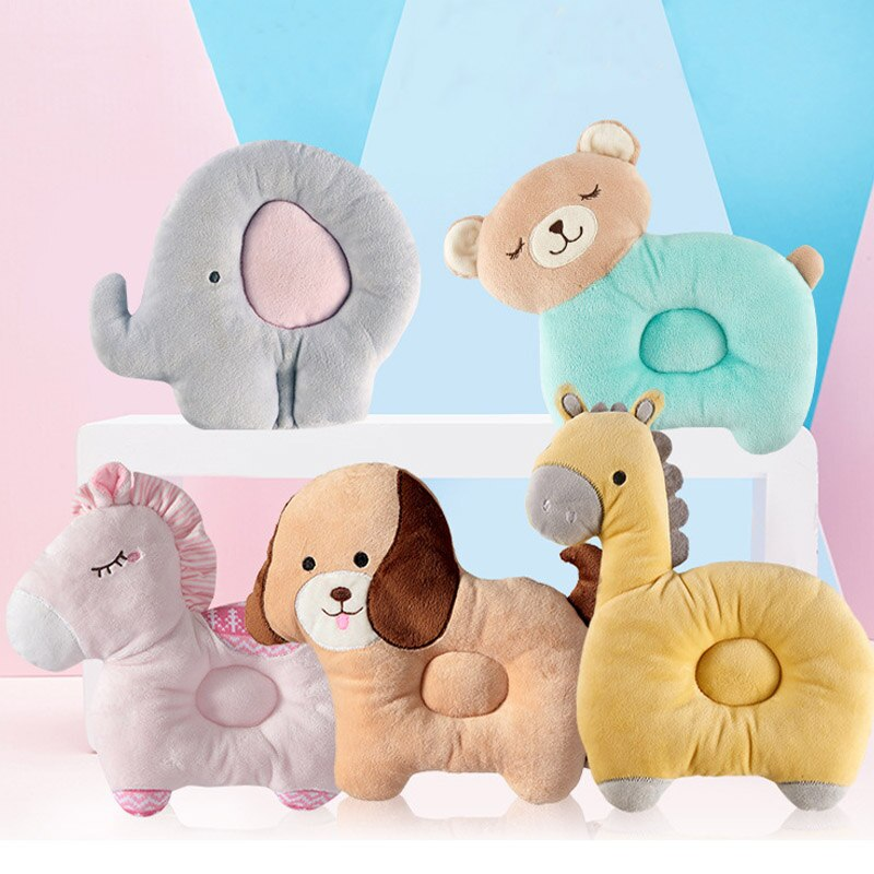 1Pcs Baby Newborn Pillows Lovely Animal Pattern Baby Shape Pillow Anti-rollover Baby Headrest Pillow Pad Infant Nursing Pillow conch painting pattern square shape pillow case(without pillow inner)