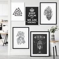 viking ship valknut symbol quote classic canvas painting poster and print art wall picture living room nordic home decoration
