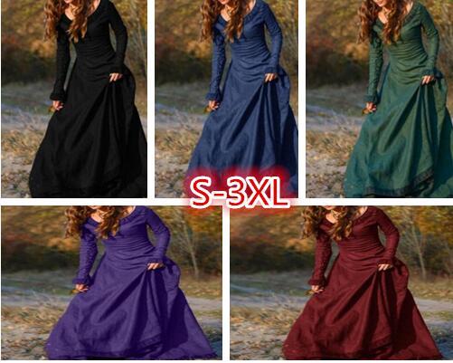 Mujeres clásico Vintage Medieval de estilo Central europeo de fiesta Maxi Vestido de manga larga de cuello redondo ajustado Fit Retro vestido