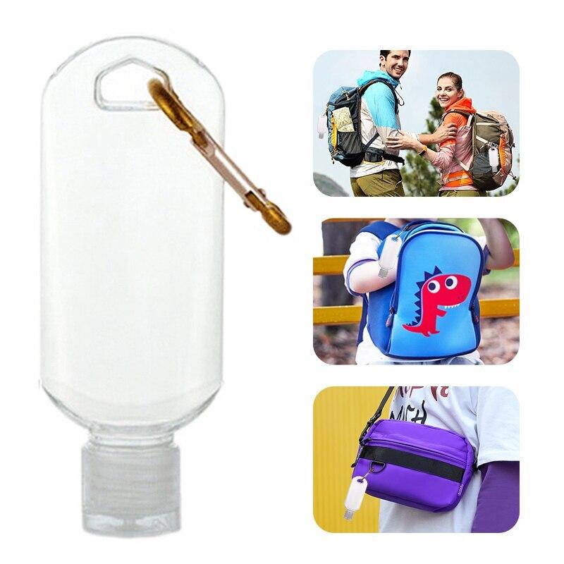 Caja de aluminio para pastillas impermeable, botella con llavero, botellas de viaje rellenables vacías, desinfectante de mano pequeña transparente para viaje