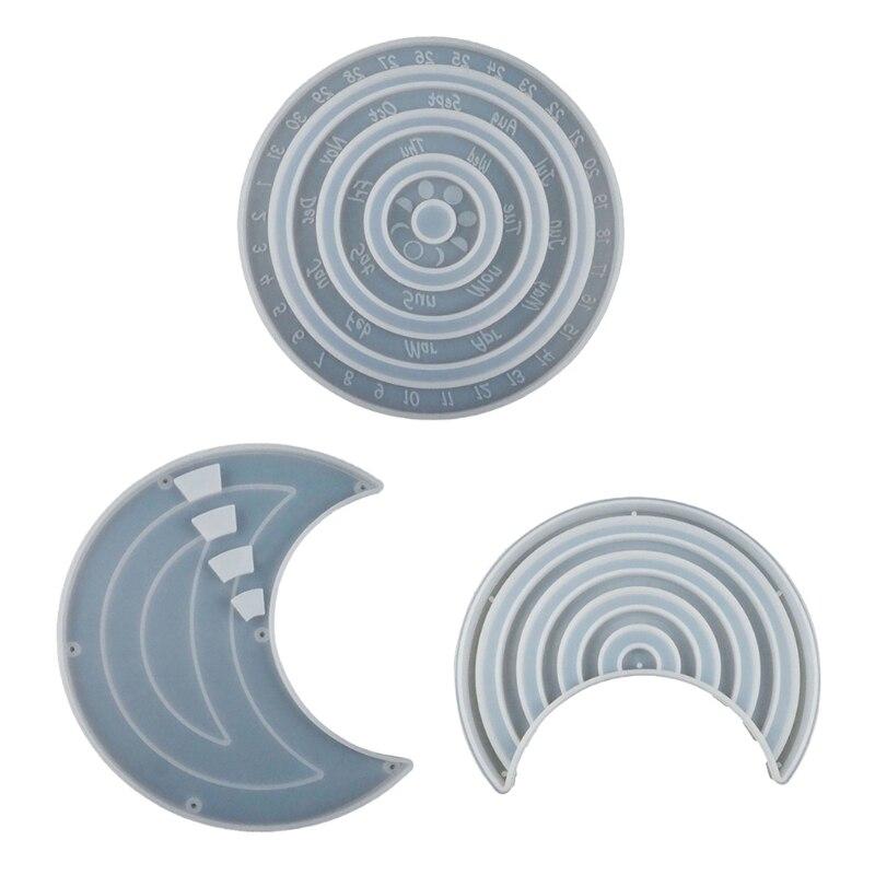 3Pcs DIY Perpetual Calendar Resin Mold Rotatable Circular Wall Calendar Silicone Mold Adjustable Perpetual Calendar Mold