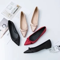 2020 spring summer pointy toe banquet single shoes women shallow bow silk satin red flat shoes lady flat heel shoes bowtie 33 44