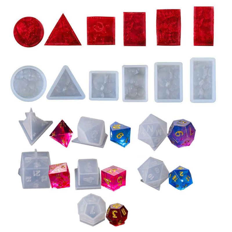 DIY Silicone Pendant Mold Jewelry Making Shapes Dice Fillet Square Triangle Dice 87HC