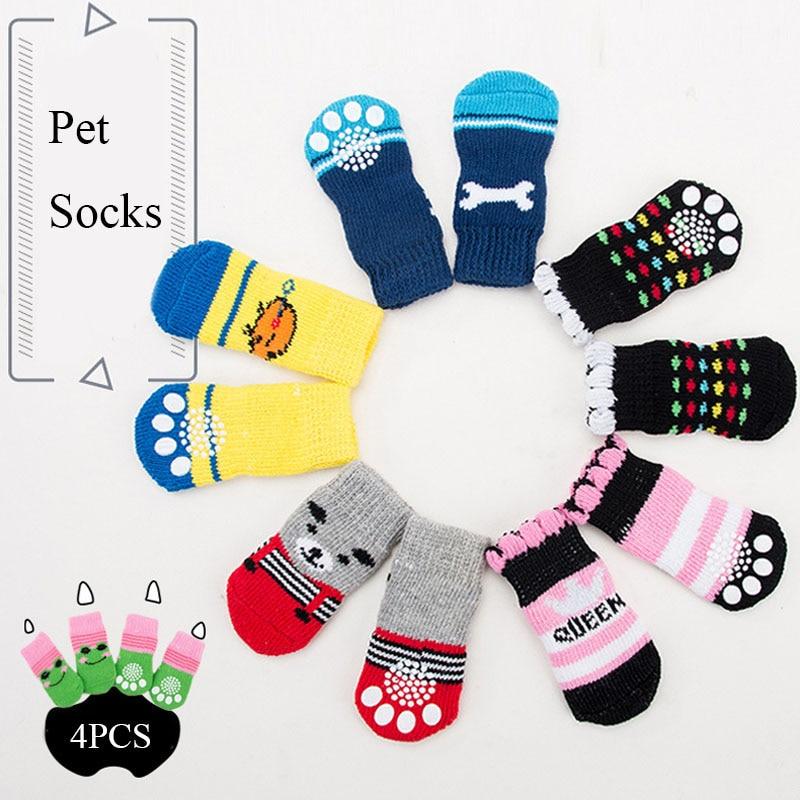 4 buc pantofi de câine cățeluși cățeluși moale pentru animale de companie șosete drăguț drăguț șosete antiderapante pentru câini mici produse respirabile pentru animale de companie S / M / L