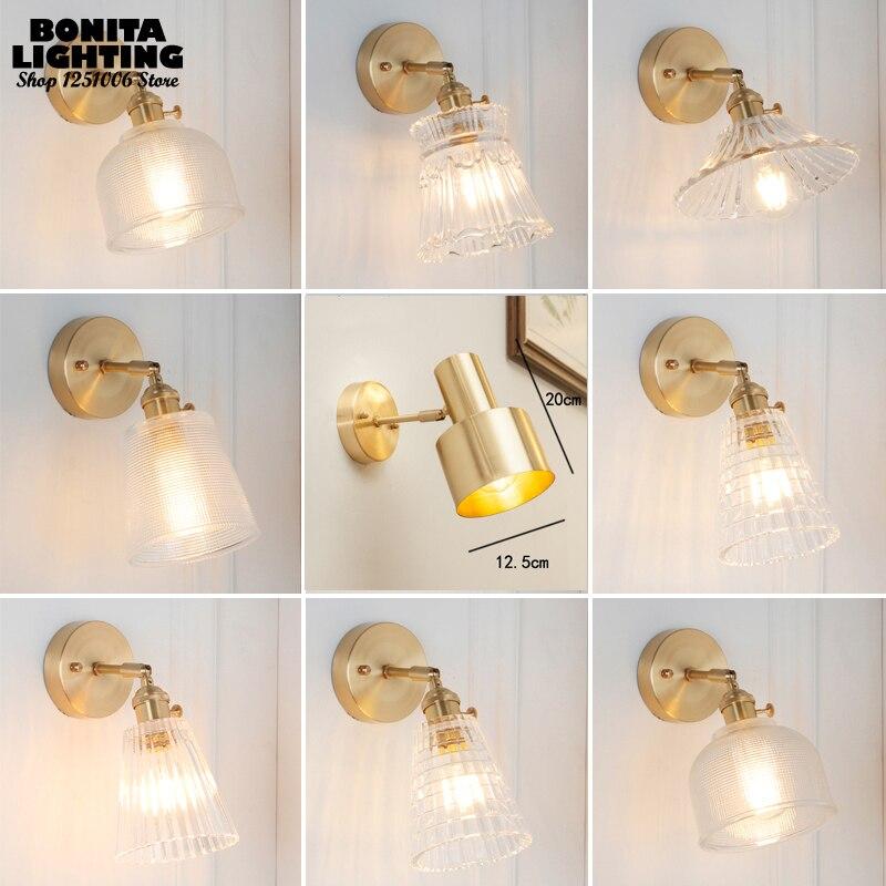 Lámpara de pared de hierro edison vintage de latón, luces de pared de vidrio claro de cobre para dormitorio, apliques giratorios, lámparas de cabecera