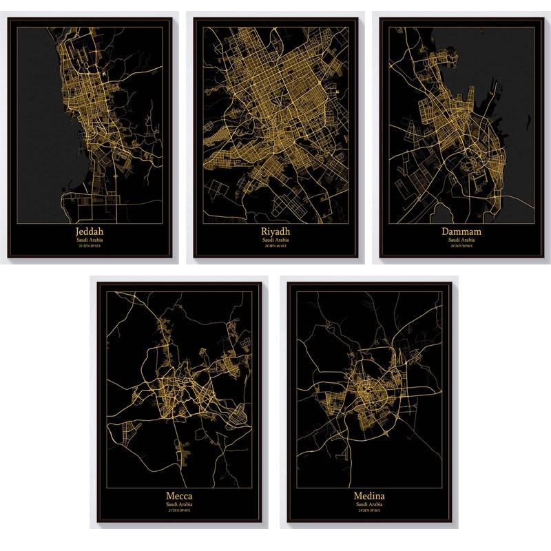 Mapa de Arabia Saudita, pintura de diamantes 5D DIY, paisaje de ciudad Dammam Jeddah Mecca Lima Riyadh, bordado de diamantes, punto de cruz