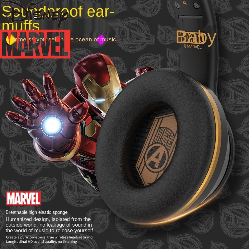 Disney Marvel Spider-Man Headset Bluetooth Wireless Headset Music Player Earplugs with Microphone Video Call Headset enlarge