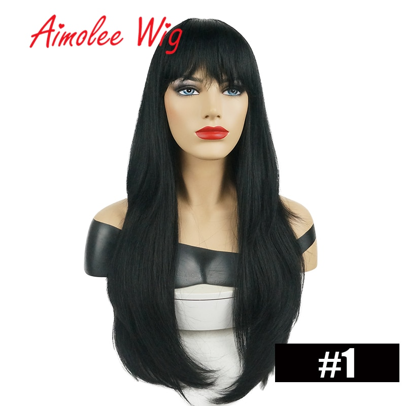 24 Inch Long Natural Straight Wig with Bangs Human hair Blend Wig Synthetic Ombre Blonde Highlight Women Wig with Soft Hair