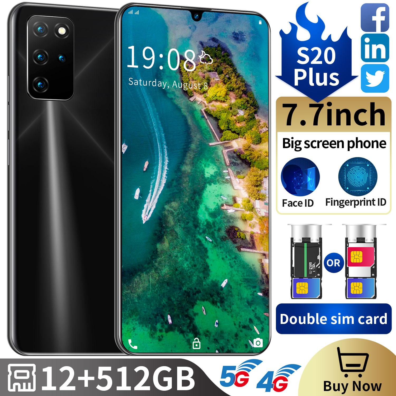 S20 Plus 7.7 بوصة 5g 12/512gb الهاتف الذكي Android10 ثنائي النواة سيم هاتف محمول شاشة كاملة 6800mah ثماني مقفلة هاتف محمول s