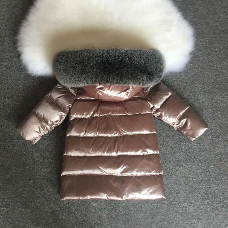 2021 Winter Baby Girls Down Jacket Real Fur Hooded Boy Coats Outdoor Windproof Children Snow Clothes Thick Kids Parkas Outerwear enlarge