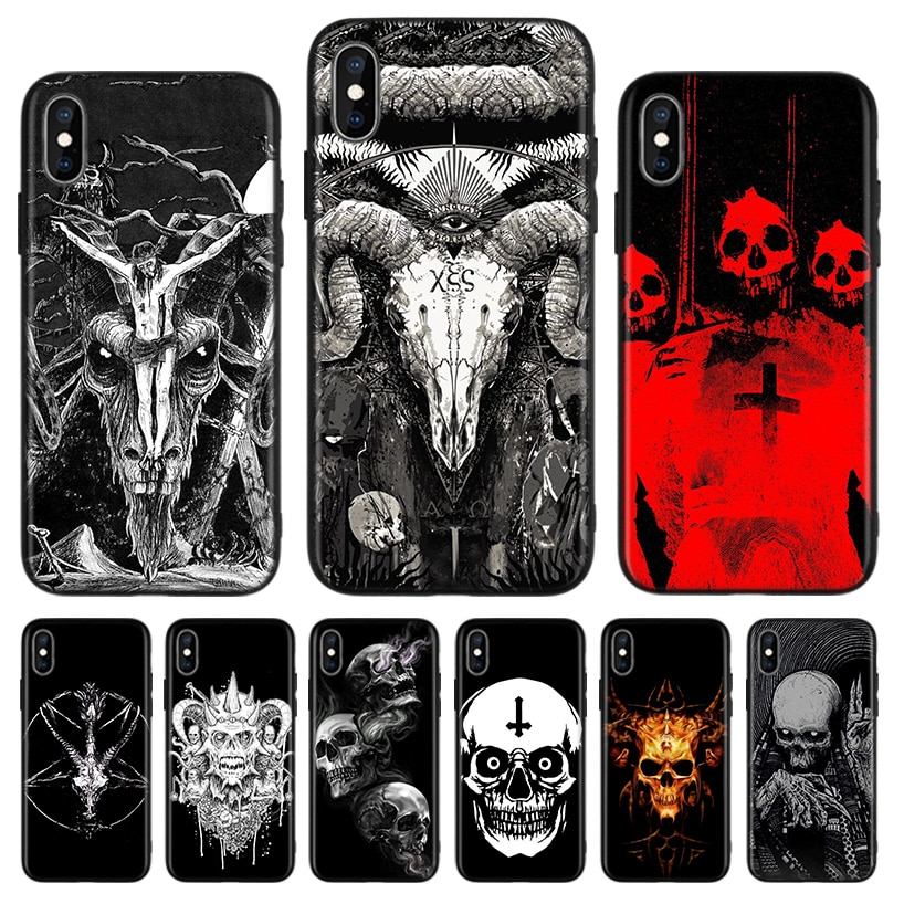 Satánica cráneo negro caja del teléfono de la contraportada para Apple IPhone 11 Pro XS MAX XR 7 7 6 6S Plus X 10 diez 5 5S SE Coque Shell
