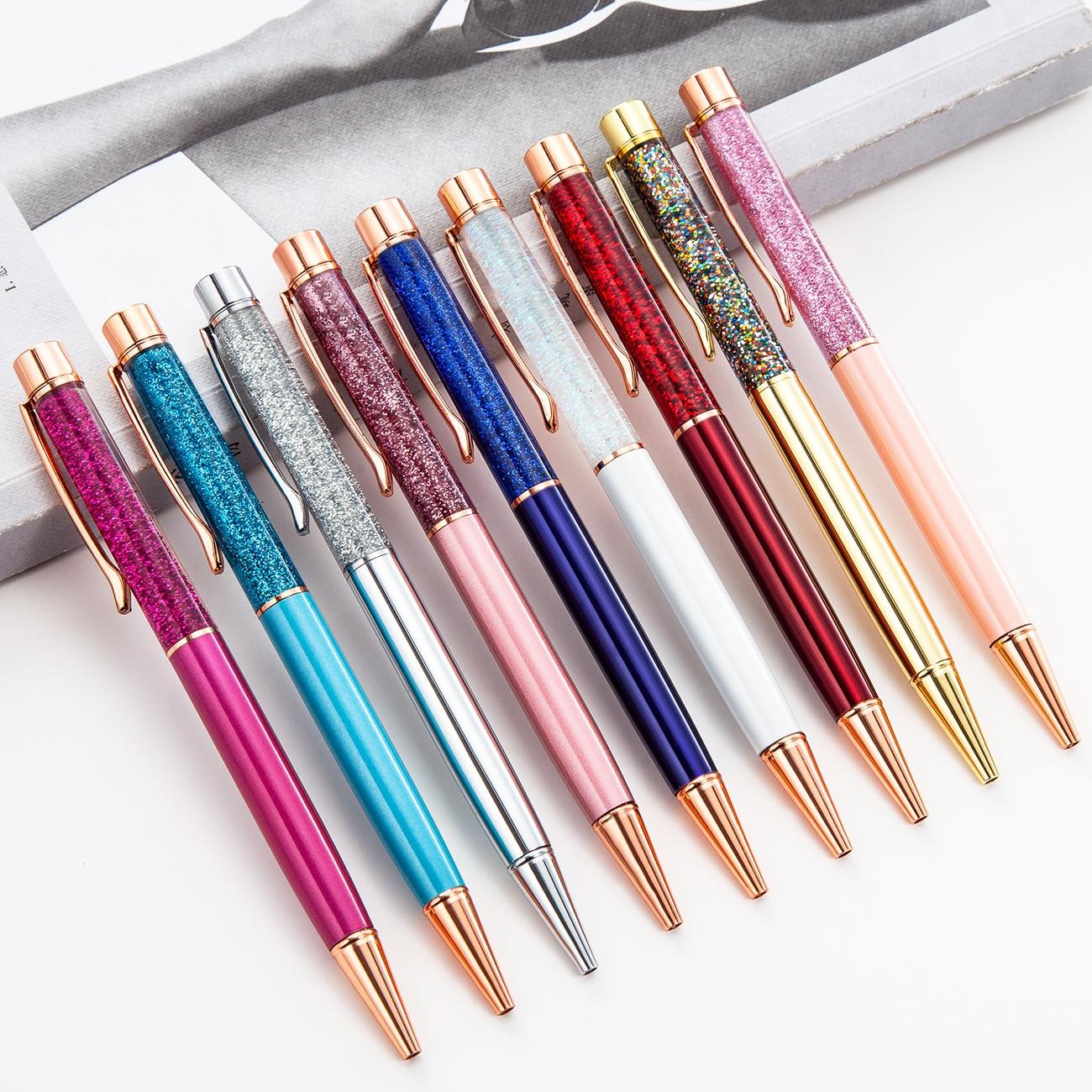 1 Uds. Bolígrafos Kawaii oro en polvo bolígrafo con láminas bolígrafo estudiante bolígrafos para la escuela papelería suministros de oficina 1,0mm