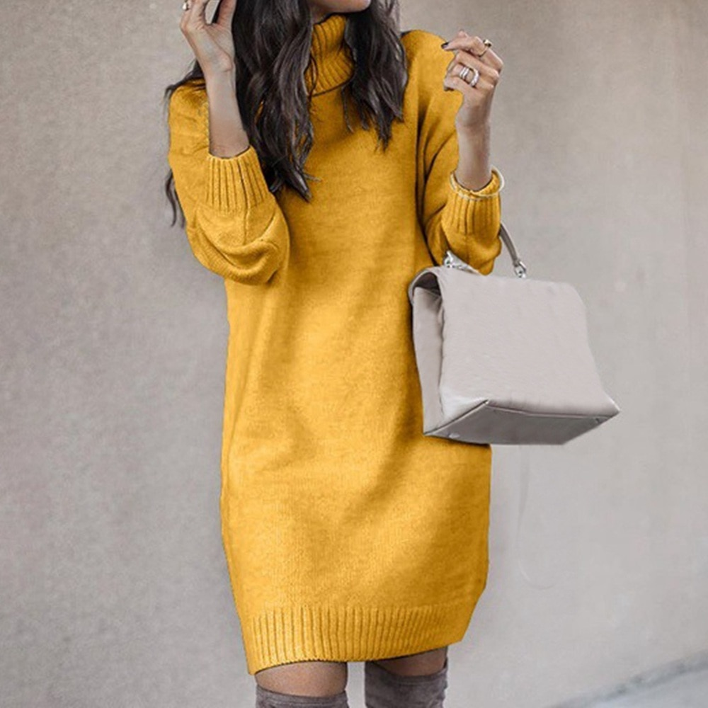 Gola alta manga comprida camisola vestido feminino outono inverno solto túnica malha pullovers camisola casual vestidos de malha