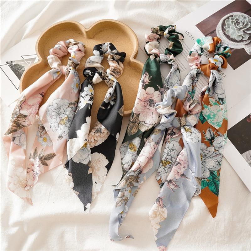 Vintage Floral Print Bogen Satin Lange Band Pferdeschwanz Schal Haar Krawatte Scrunchies Frauen Mädchen Elastische Haar Bands Haar Zubehör