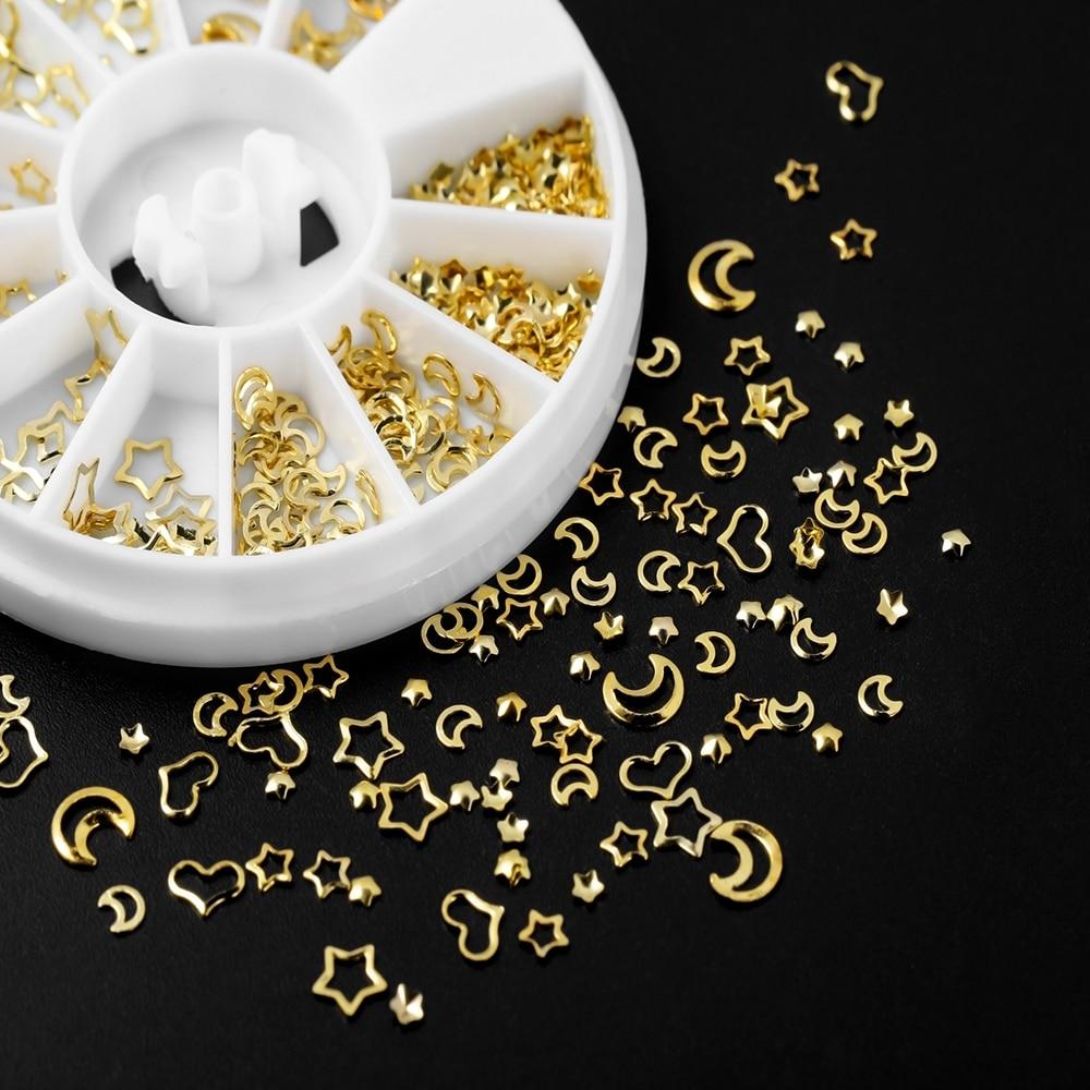 1-коробка-Смешанная-рамка-металл-золото-дизайн-ногтей-сердце-звезда-ювелирное-наполнение-эпоксидная-смола-форма-наполнение-для-рукод