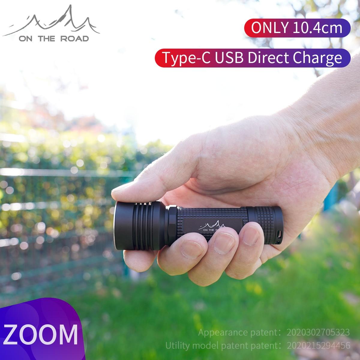 على الطريق i5 Type-C USB مصباح يدوي إضاءة فلاش للتقريب مصباح يدوي صغير التركيز Torchlight 18650 قابلة للشحن مصباح ليد جيب