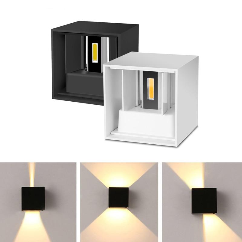 مصباح جداري LED مربع قابل للتعديل من الألومنيوم ، مقاوم للماء وفقًا لمعيار IP65 ، للاستخدام الداخلي والخارجي ، مثالي لغرفة المعيشة أو الشرفة ، 6/...