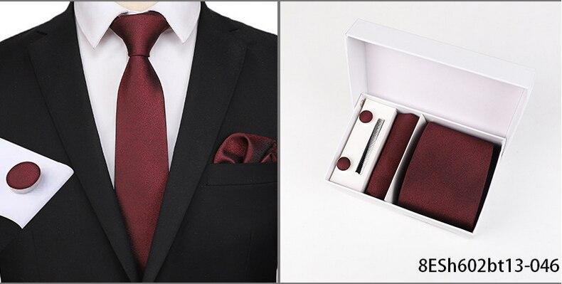 New fashion pattern tie men 8cm silk tie suit men wedding formal occasion tie handkerchief cufflinks 3 piece set