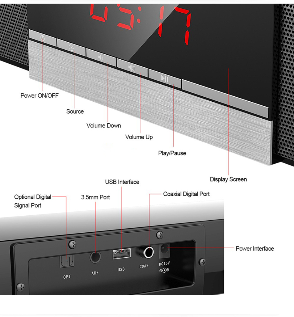 Home theater TV Soundbar 40W Wireless 5.0 Bluetooth Speaker Built-in Subwoofers Hifi Stereo Column Surround Soundbar with Remote enlarge