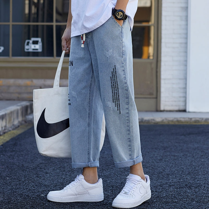 Мужские джинсы, Новое поступление весна-осень 2021, прямые свободные брендовые красивые трендовые повседневные длинные брюки синего цвета, б... красивые прямые диваны