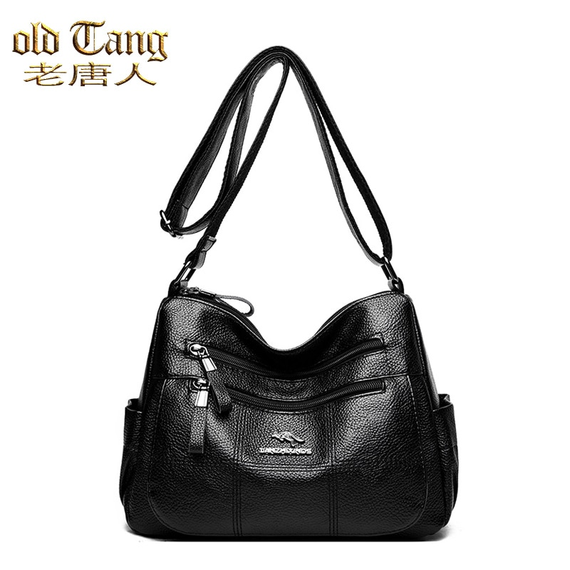 OLD TANG High Quality Pu Leather Crossbody Bag for Women 2021 Multiple Zippers Designer Fashion Soli