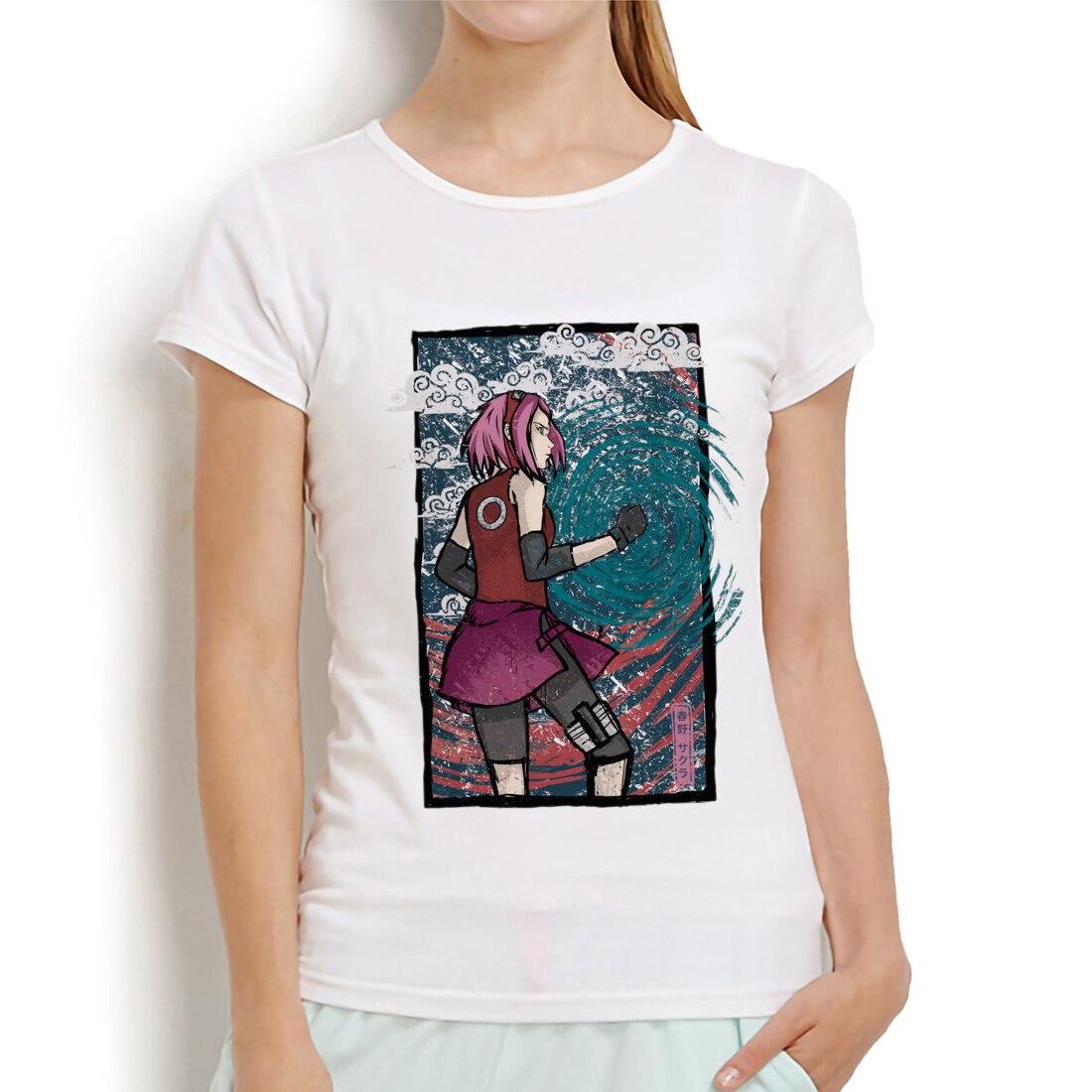 Naruto manga Haruno Sakura divertida camiseta de anime mujeres novedad de verano pantalón corto casual manga camiseta mujer linda streetwear camiseta