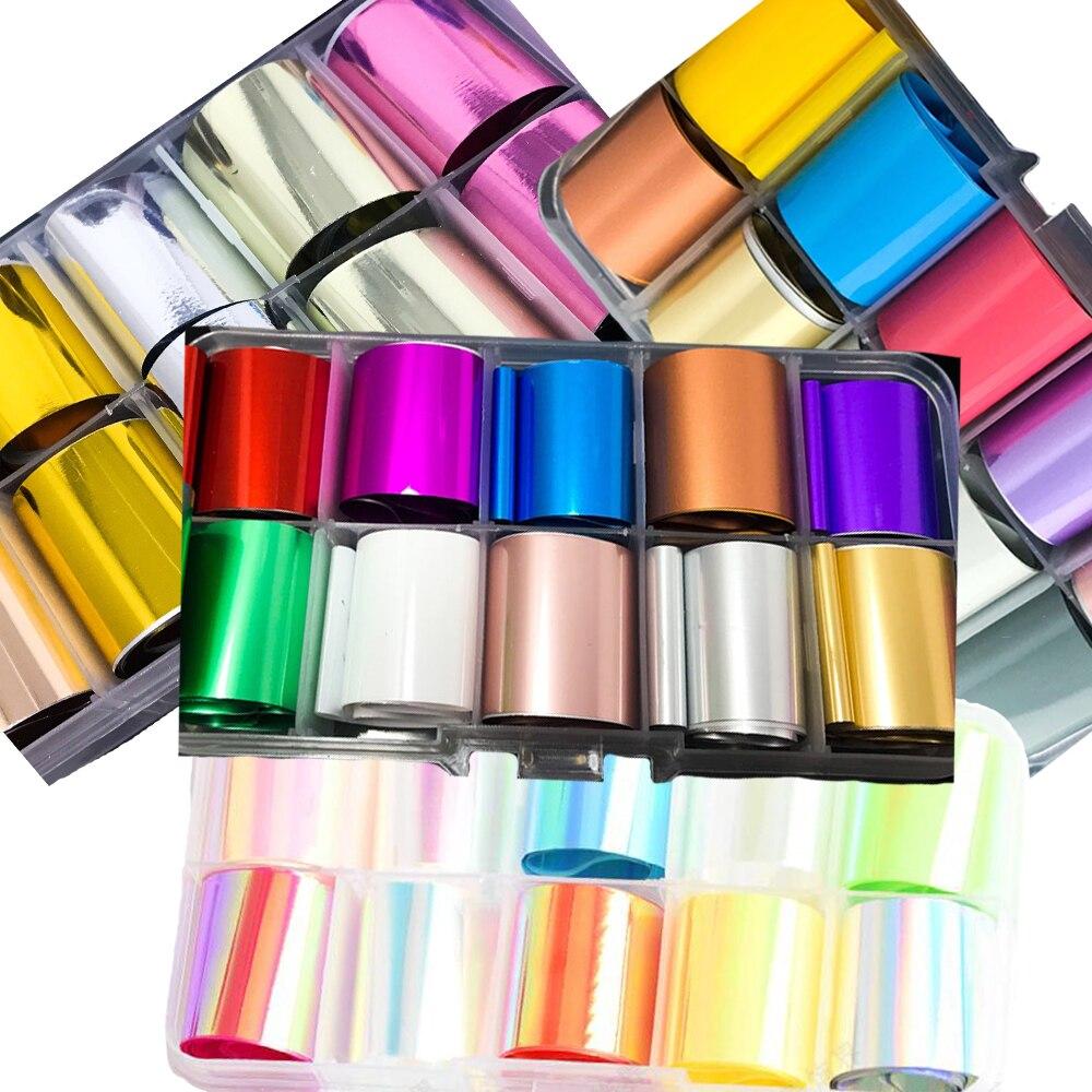 10pc folha de transferência de unhas prata, cobre, ouro, ouro rosa, azul aqua, verde claro, vermelho, 10 folhas/caixa (2.5x100cm)