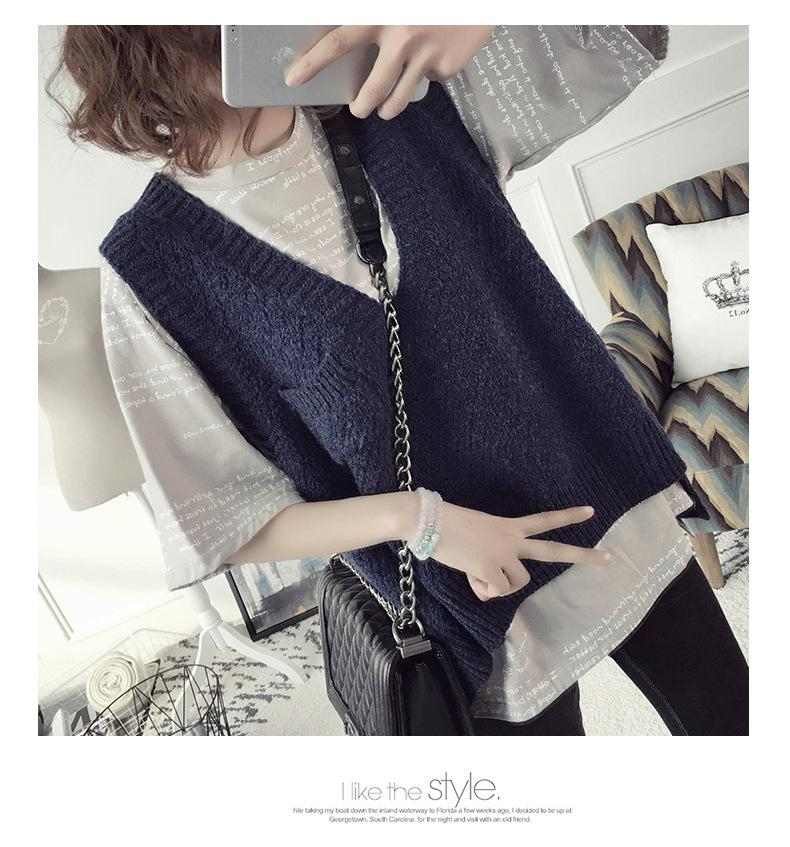 209 primavera otoño mujer nuevo chaleco de punto corto suelto ropa de moda suéter chaleco femenino fuera