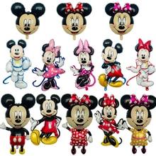 1 Uds. globos metalizados de dibujos animados de Mickey Minnie, decoraciones para fiesta de cumpleaños, juguetes de globo para fiesta de bienvenida al bebé