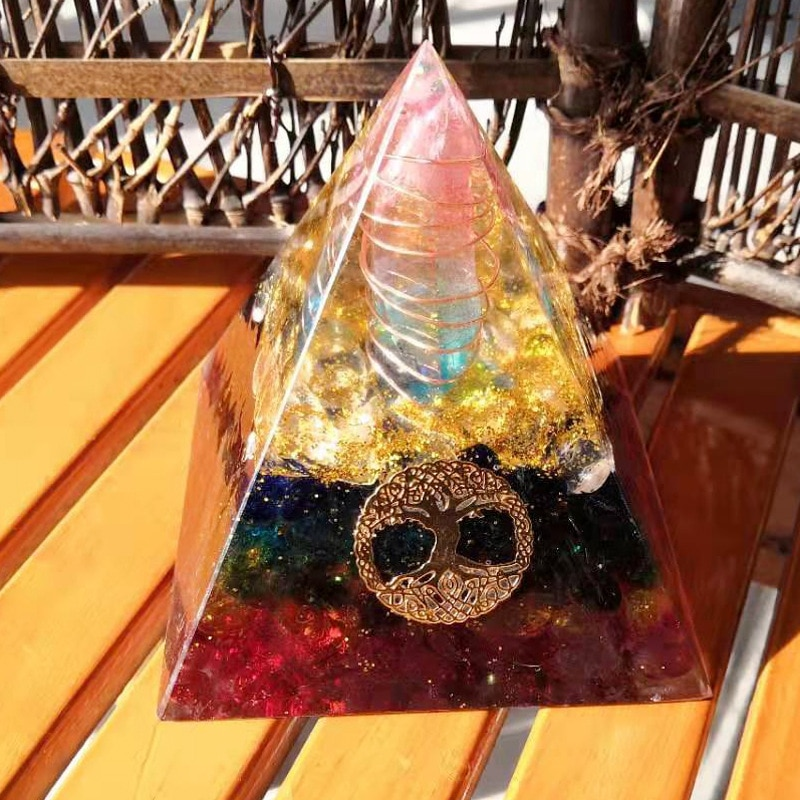 7 Chakra Crystal Orgone Pyramid Tree Of Life Amazonite Resin Jewelry Decoration Faith Creativity Pyramid Energy Generator