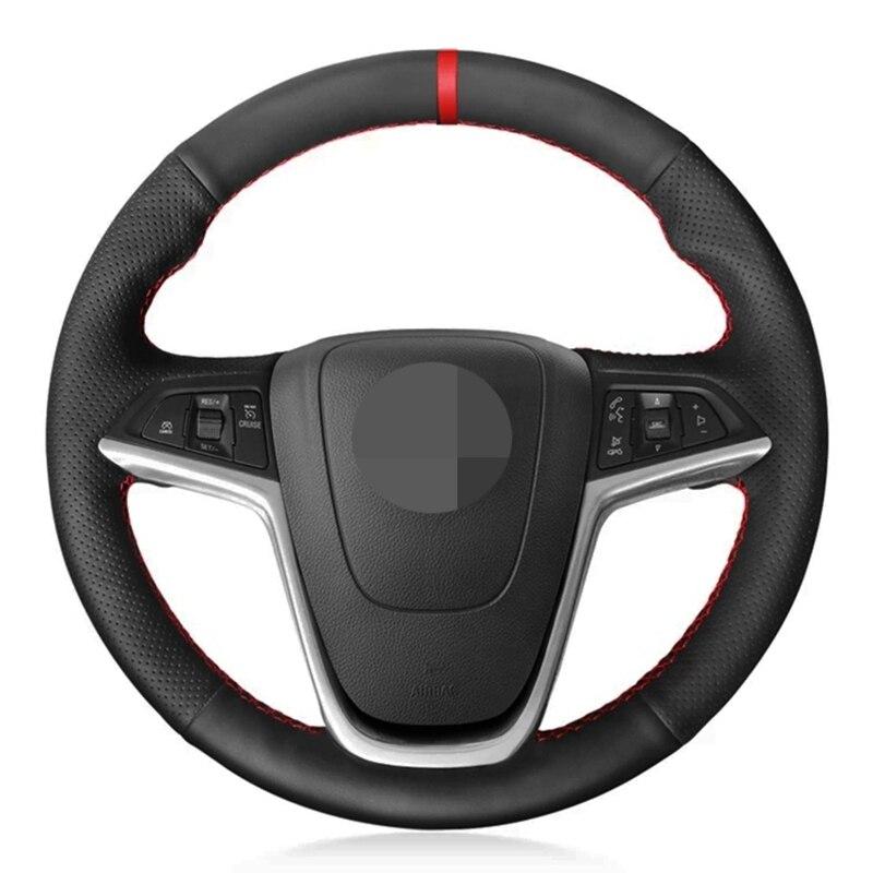 Preto macio couro artificial volante do carro capa para opel mokka insignia astra (j) meriva (b) ampera cascada zafira tourer