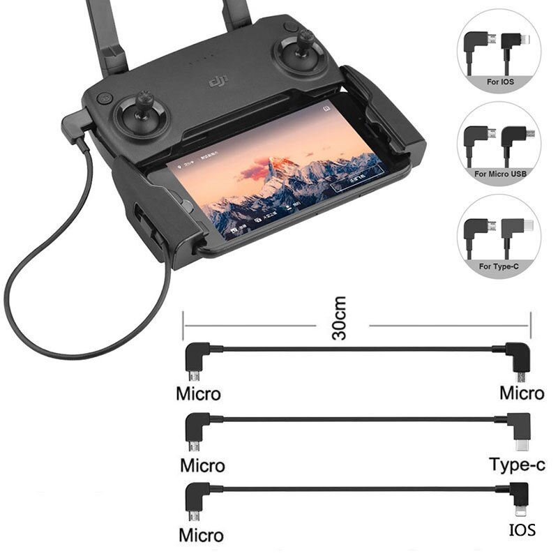 OTG Data Cable for DJI Mavic Mini 2 Pro Air Spark Mavic 2 Zoom Drone IOS type-C Micro-USB Adapter Wi