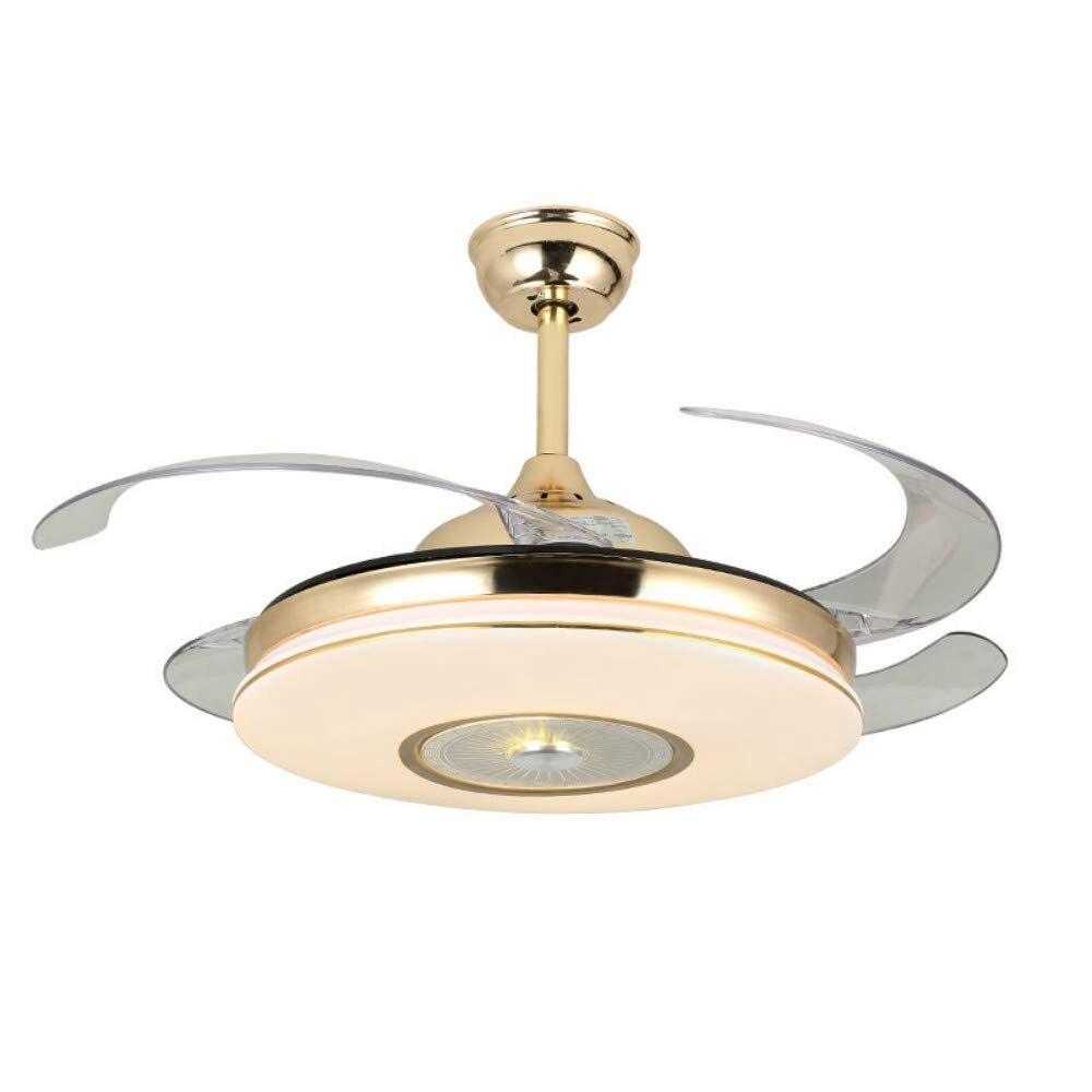 Luz YEELED, ventilador de techo de oro Invisible de 42 pulgadas, luz remota de 3 colores, lámpara de ventilador retráctil de 3 velocidades para sala de estar de interior