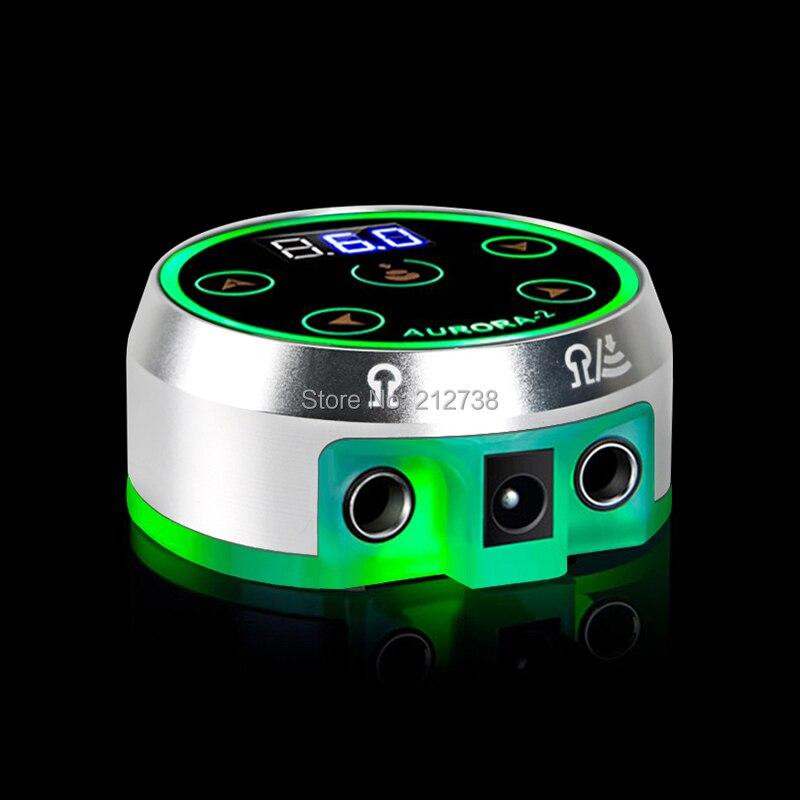 Новейшая Горячая Распродажа, черный/серебристый профессиональный источник питания Aurora II для тату с адаптером питания для катушки и роторно...