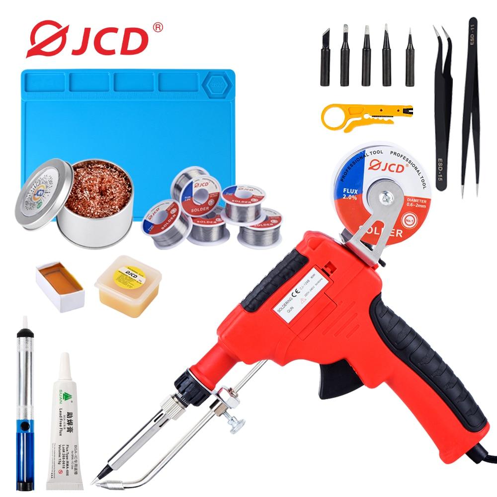 JCD 80W Electronics Soldering Tools Solder Iron Gun Kit Soldering Gun Soldering Wires for Jewelry Home DIY Circuit Board Repair