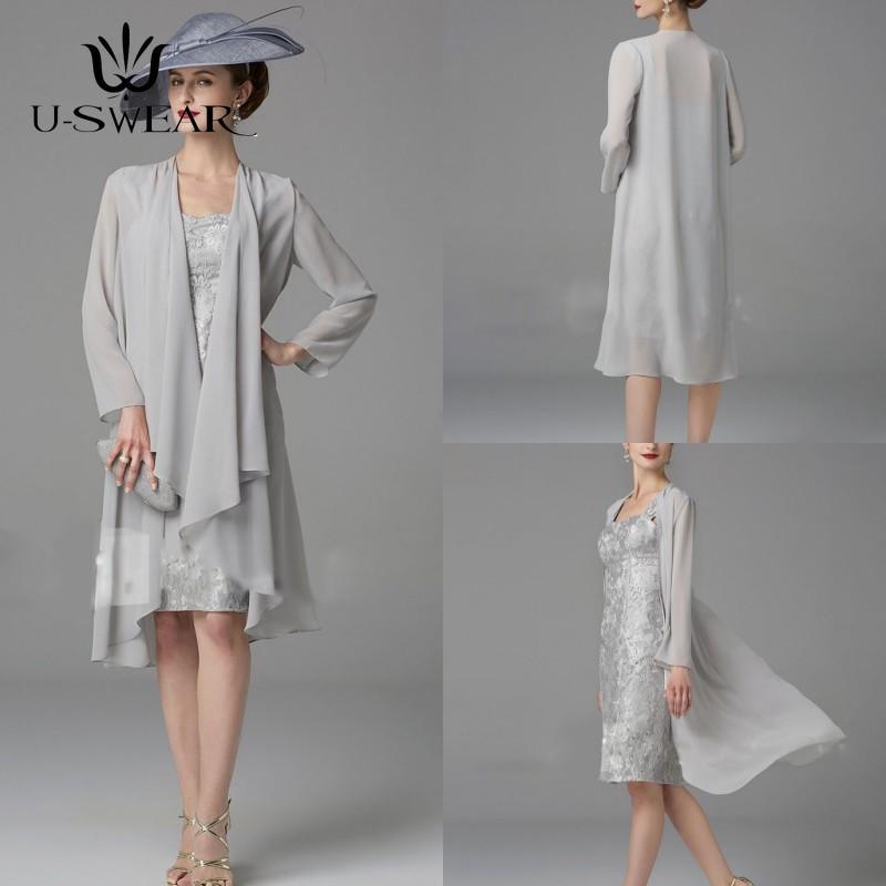 Vestidos de Madre de la Novia con chaqueta de gasa, Vestido corto...