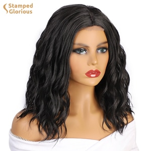 Isaic Synthetic Bob Wig Short Wavy Black Wigs for Women Middle Part Shoulder Length for Daily Party Use