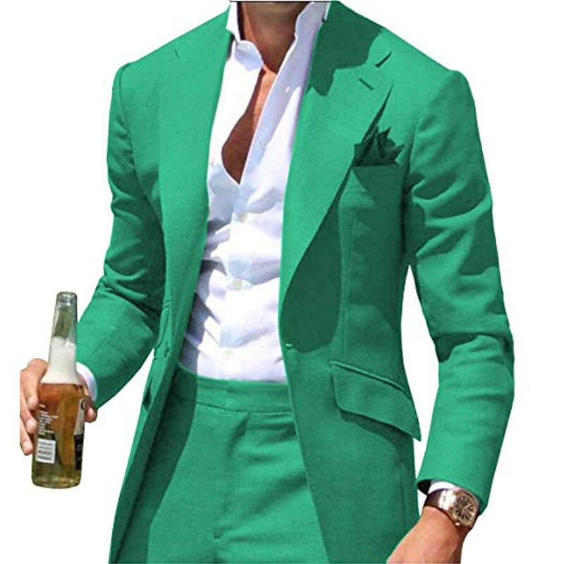 الأخضر سليم صالح الرجال الدعاوى ل عشاء حفلة موسيقية حزب أحدث تصميم 2 قطعة رجل سترة مع السراويل خياط صنع الزفاف Groommen البدلات الرسمية