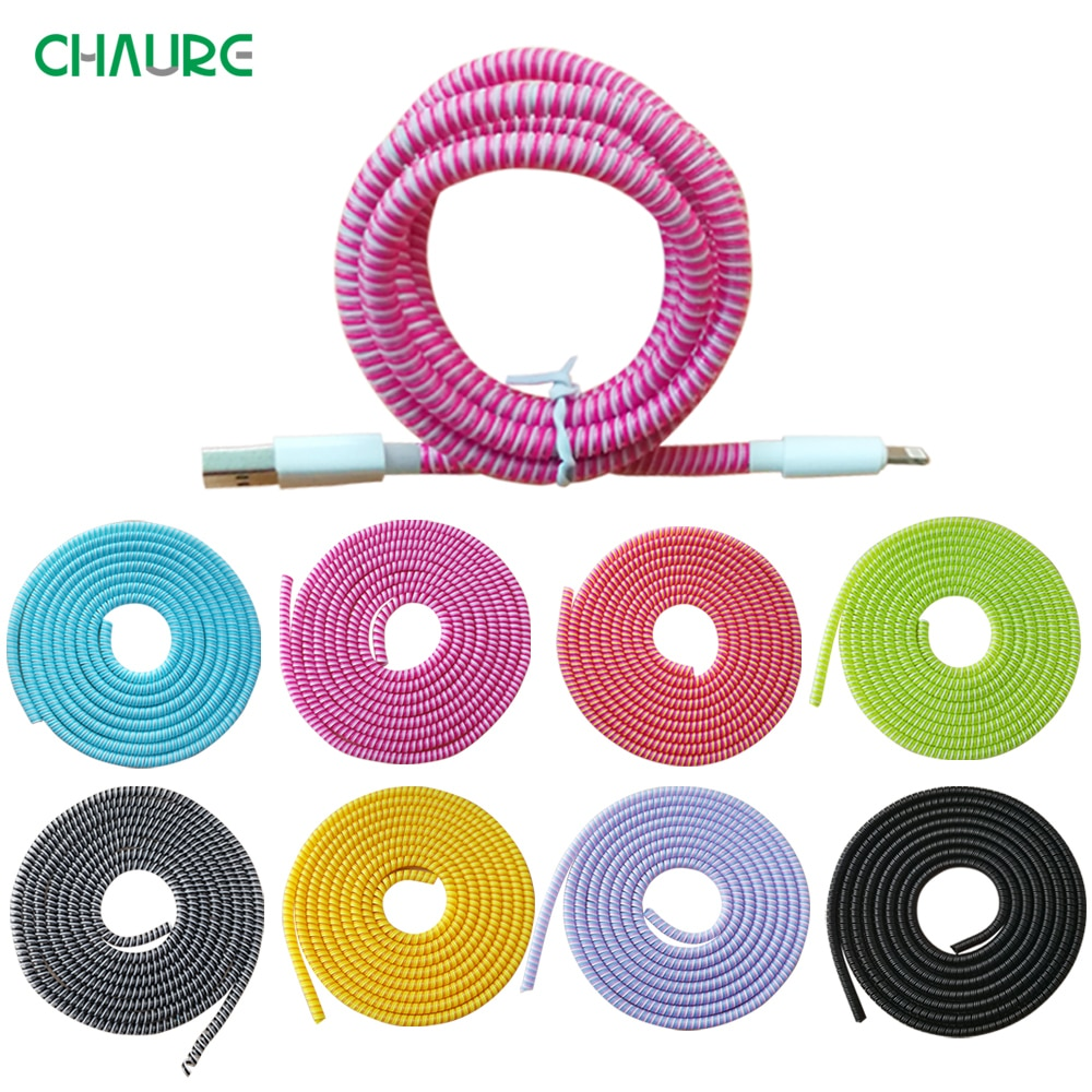 1.4m Color phone Wire Cord Rope Protecto Anti-break spring protection rope for USB Charging Cable earphone Data Bobbin Winder