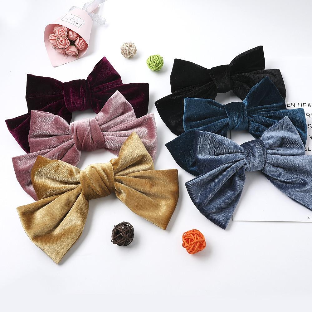Envío Gratis moda gran lazo de terciopelo de las mujeres hairclip chica impresión horquillas pasadores de dama clips laterales accesorios para el cabello