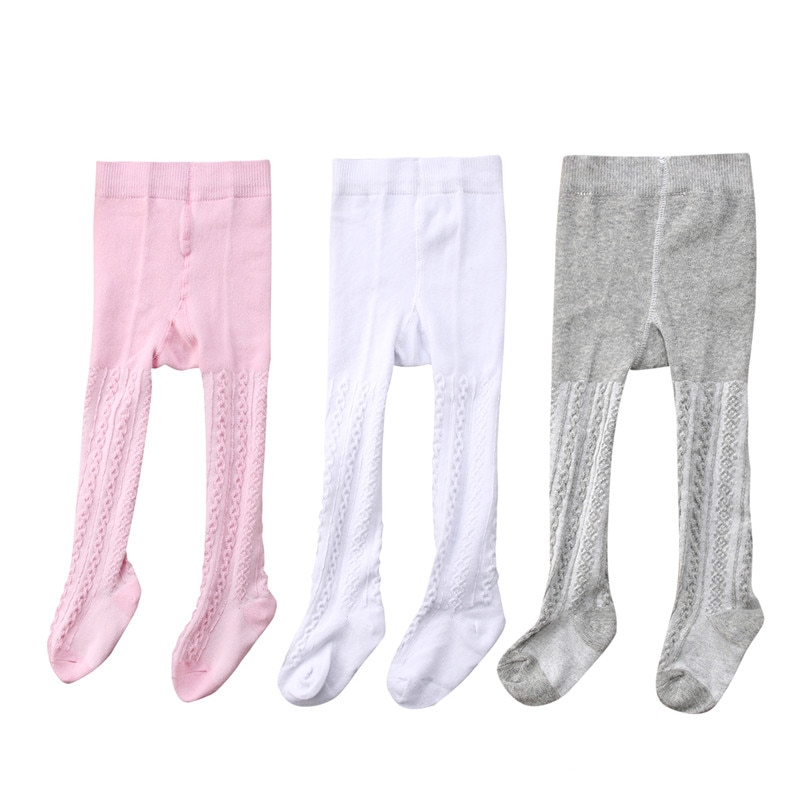 3 Pairs/Set Baby Girls Solid Cotton Stretchy Tights 0-24M Newborn Infant Toddler Casual Skinny Fit Pantyhose