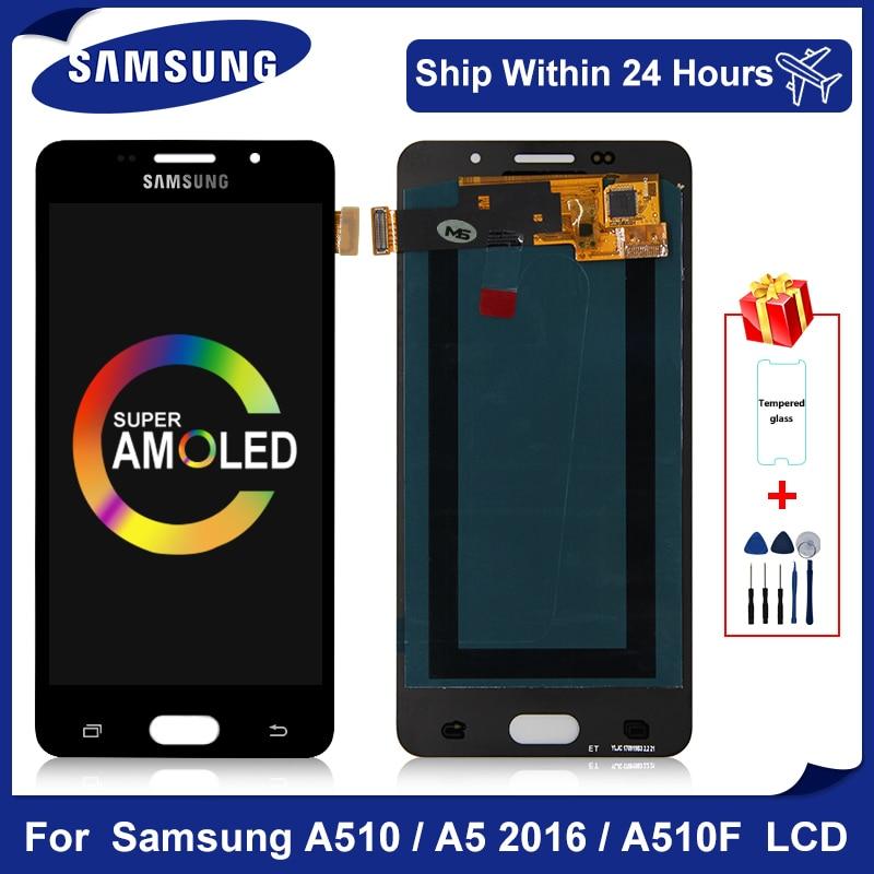 "5.0 ""Super AMOLED Für Samsung Galaxy A510 LCD Display A5 2016 Digitizer Touchscreen für A510F A510M SM-A510F Ersatz teile"