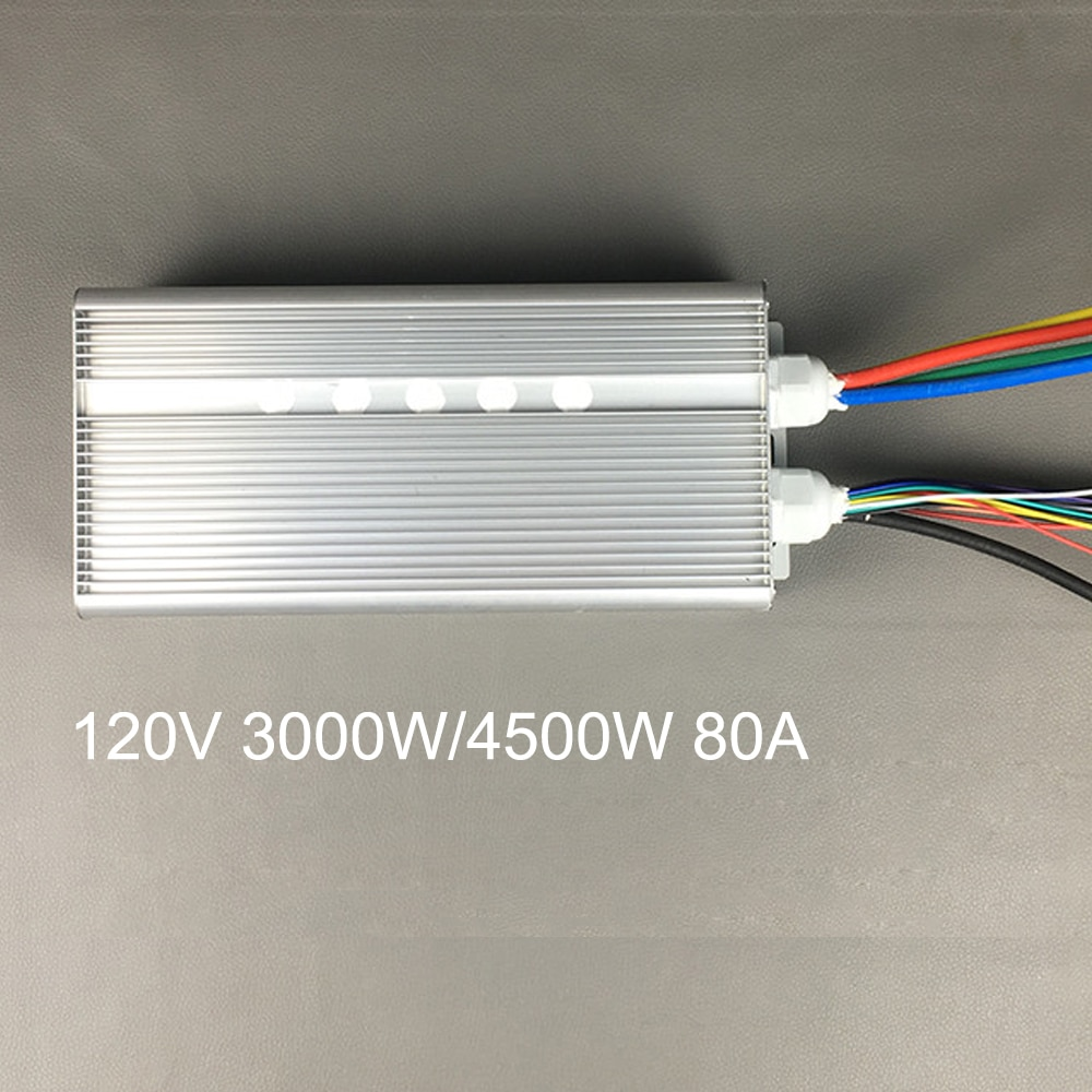 Ebike Controller 120V 3000W 4500W Brushless Hub Motor Controller 80A 36 Mosfet 120 Degree Phase For Electric Bike Car Motorcycle