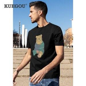 KUEGOU Clothing Men's T-shirt Short Sleeve Fashion Winny the Pooh Bear Print Tshirt Summer High Quality Tee&Top Plus Size 10895